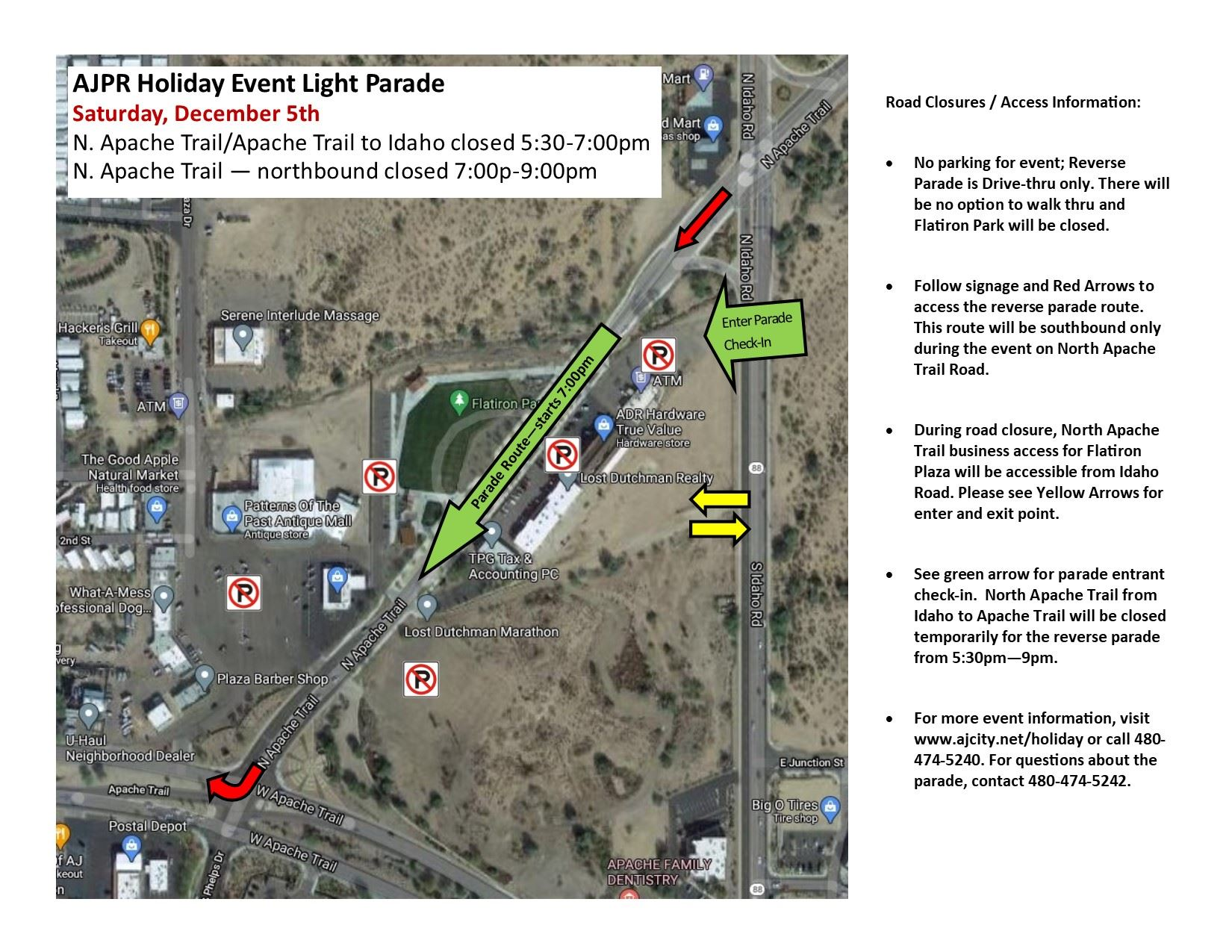 2020 Light Parade Road Closure and Route and Check-In Map